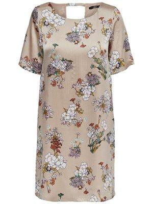 Платье серое в цветочный принт | 4242104