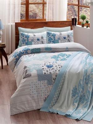 Комплект постільної білизни двоспальний (євро) з пледом | 4203541