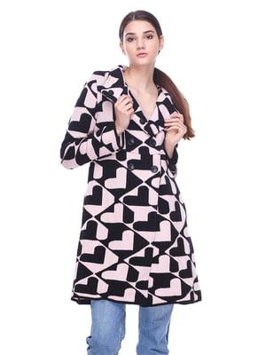 Пальто рожево-чорне в принт | 2997435