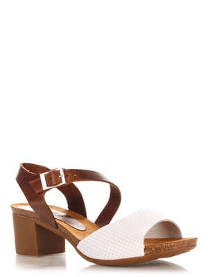 Босоніжки біло-коричневі | 4242582