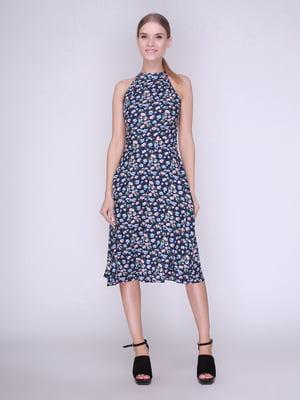 Платье синее в цветы   4247112