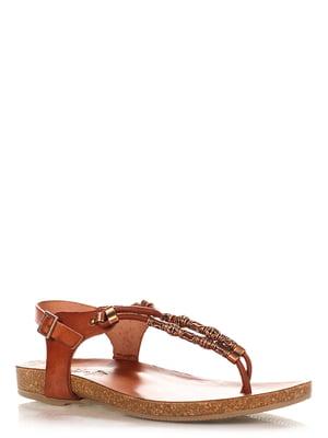 Сандалії-в'єтнамки коричневі з декором | 4242537