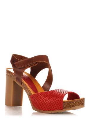 Босоніжки коричнево-червоні | 4242576