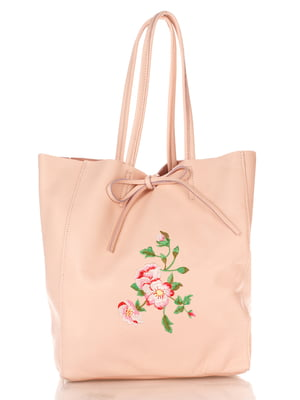 Сумка светло-розовая с вышивкой | 4235307