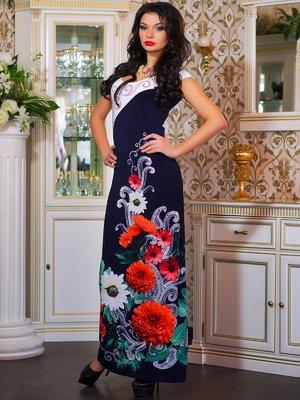 Платье темно-синее в цветочный принт | 4262962