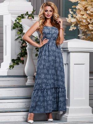 Платье синее в цветочный принт | 4262976