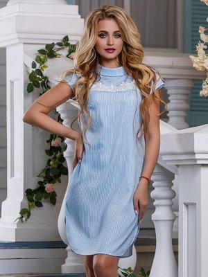 Платье голубое в полоску   4262987