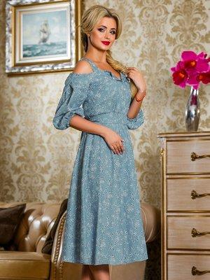 Платье голубое в цветочный принт | 4263035