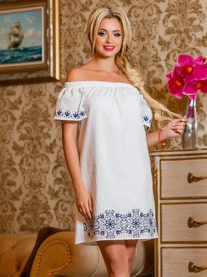 Платье белое с цветочным принтом | 4263039