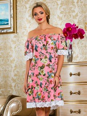 Платье розовое в цветочный принт | 4263042