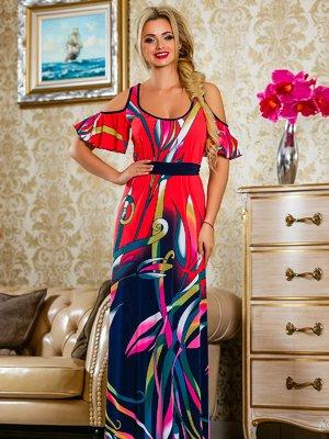 Платье красное в цветочный принт   4263060