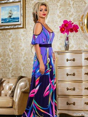 Платье темно-синее в цветочный принт | 4263061