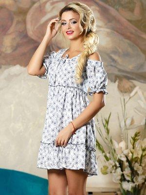Платье белое в цветочный принт | 4263106