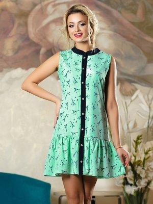 Платье зеленое в принт | 4263107