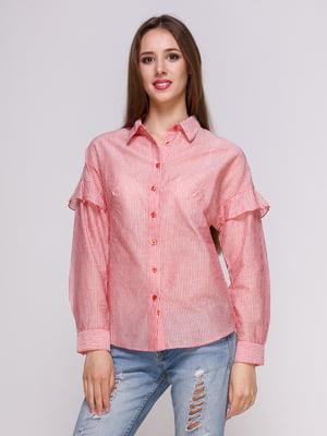 Блуза красная в полоску | 4262460