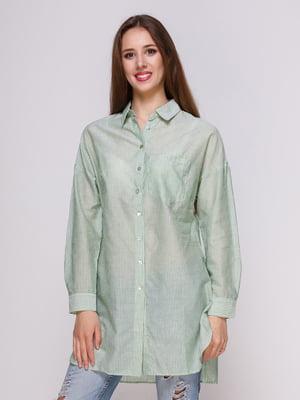 Блуза зеленая в полоску | 4262456