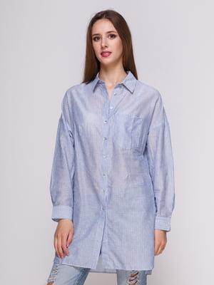 Блуза блакитна в смужку | 4262457