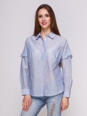 Блуза блакитна в смужку | 4262458
