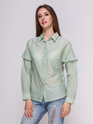 Блуза зеленая в полоску | 4262461