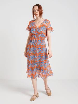 Платье оранжевое в принт | 4265348