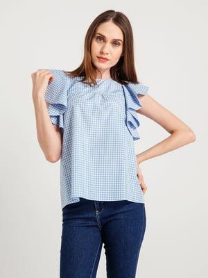 Блуза світло-синя в клітинку | 4265384