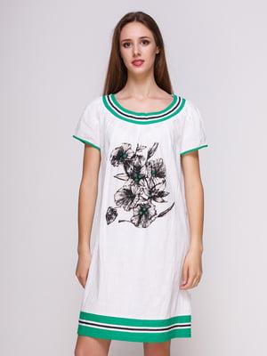 Сукня біла з квітковим принтом | 4262403