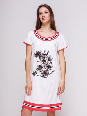 Платье белое с цветочным принтом | 4262404