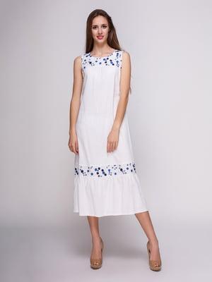 Платье белое в цветочный принт | 4262389