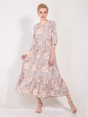 Платье бежевое в цветочный принт | 4266909