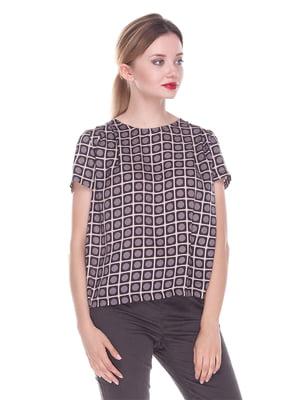 Блуза коричневая в горошек - Fairly - 4252324