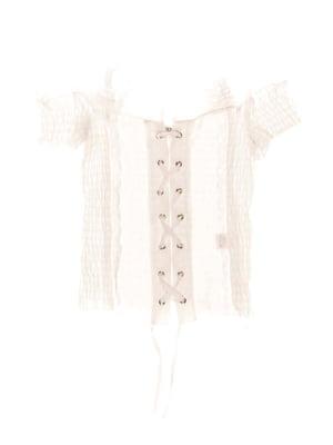 Блуза біла зі шнурівкою | 1236944