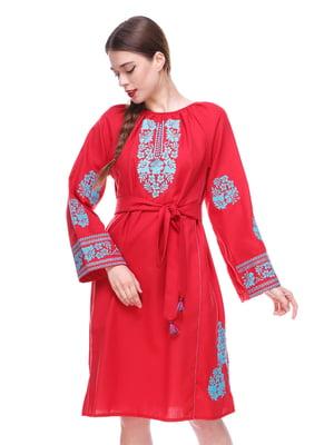 Платье красное с вышивкой - SOPHIE MARIA - 4267517