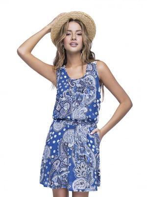 Сукня синя в принт | 4271166
