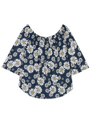 Блуза синяя с цветочным принтом | 4277461