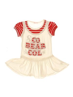 Платье бело-красное в полоску с декором   3168379