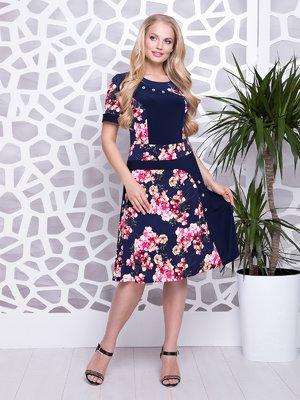 Сукня синя з квітковим принтом | 4278203