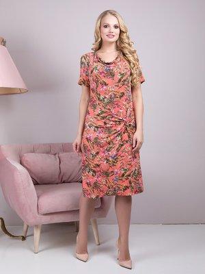 Сукня коралова з квітковим принтом - ALL POSA - 4278204