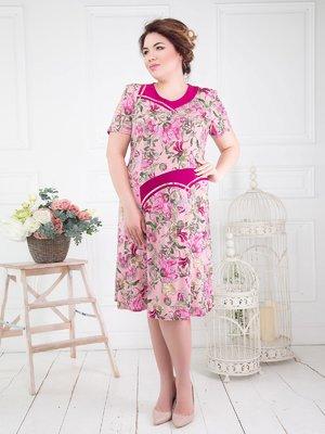 Сукня рожева у квітковий принт - ALL POSA - 4278205