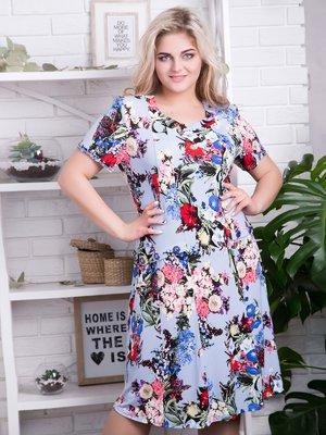 Сукня блакитна в квітковий принт | 4278210