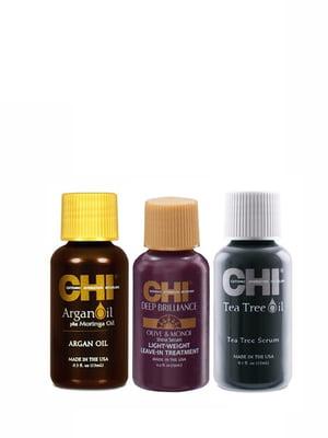 Набір шовків: Argan Oil, Deep Brilliance Serum, Tea Tree Serum (3х15 мл) | 4078983