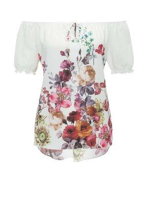 Блуза молочного цвета с цветочным принтом | 4276484