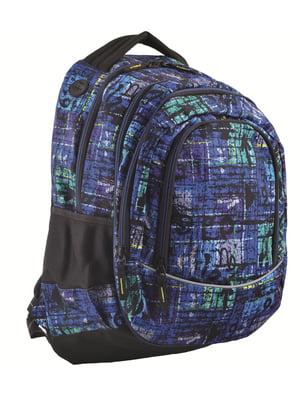 Рюкзак молодіжний 2в1 темно-синій в принт | 4284753