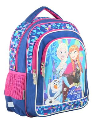 Рюкзак шкільний синій в принт | 4284755