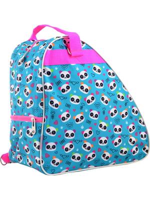 Рюкзак-сумка для ковзанів/роликових ковзанів блакитний в принт | 4284761