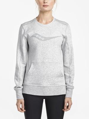 Джемпер светло-серый с принтом | 4249218