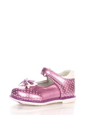 Туфлі бузкові в дрібний горошок | 3902846