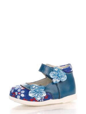 Туфлі сині з принтом | 3902674