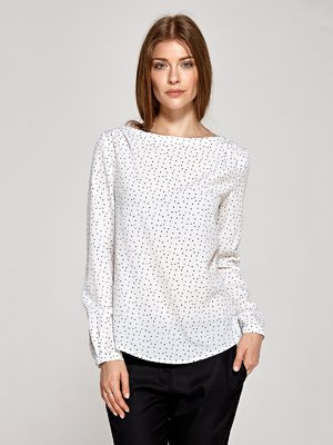 Блуза цвета экрю в принт | 4293746