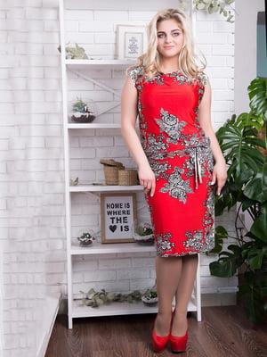 Сукня червона з принтом - ALL POSA - 4293887