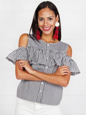 Блуза черно-белая в клетку | 4294116